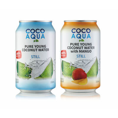 Coco Aqua Mango Still Coconut Water - Can Design