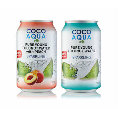 Coco Aqua Peach or Regular Coconut Water - Can Design