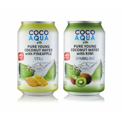 Coco Aqua Pineapple or Kiwi Sparkling Coconut Water - Can Design